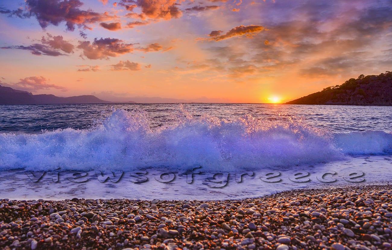 sunset, greek, psatha,, attica, greece, aerial, psatha beach, porto germeno, aegosthena fortress, corinthian gulf, attika region, athenians, attica prefecture